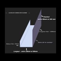 Bandeau de rive 2 plis sur mesure en aluminium couleur. Différent coloris disponibles